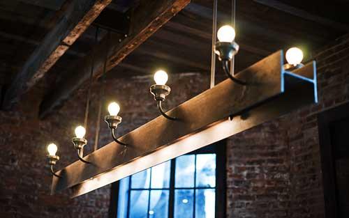 Steel Beam Chandelier Recycled Materials Restaurants